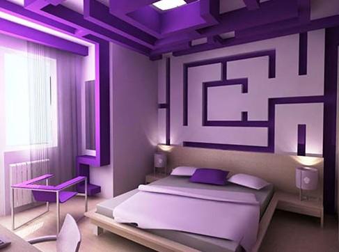 Фиолетовый интерьер спальни, гостиной и кухни на фото. Сочетание фиолетового цвета в интерьере комнаты.