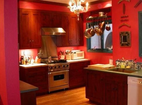 Фон для красной кухни – как выбрать обои