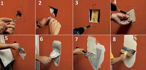 Ремонт стены из гипсокартона: заделка дыры и швов в стене своими руками, если образовалась дыра в гипсокартоне