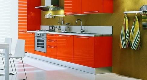 Самый подходящий цвет обоев для позитивной и уютной оранжевой кухни