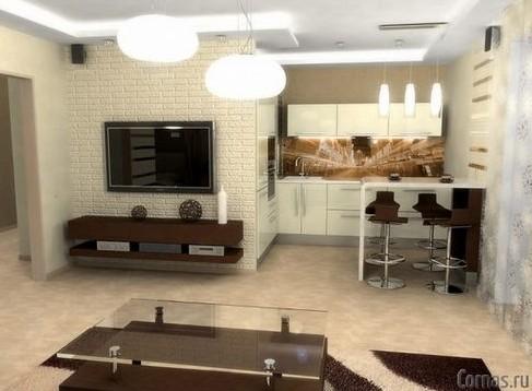 Совмещаем гостиную и кухню, получаем кухню-студию!