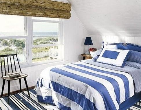 Спальня в морском стиле: интерьер спальни в морском стиле на фото с описанием